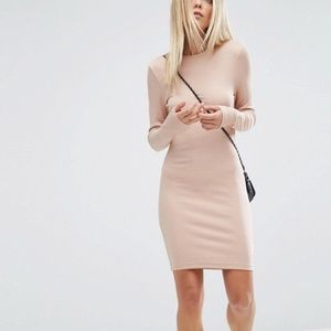 ASOS Ribbed Blush Midi Dress
